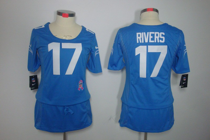 Womens San Diego Charger 17 Rivers Nike Elite breast Cancer Awareness blue Jersey