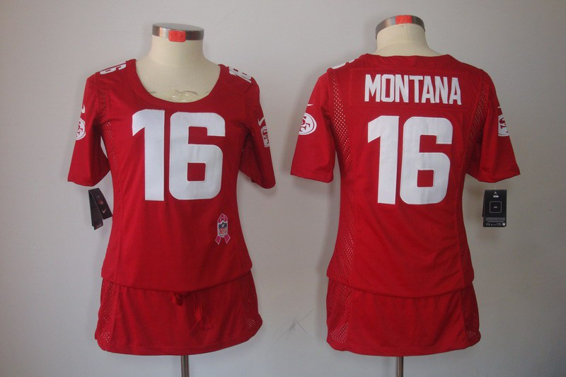Womens San Francisco 49ers 16 Montana Nike Elite breast Cancer Awareness red Jersey