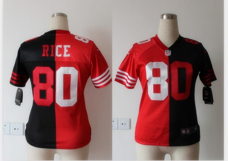 Womens San Francisco 49ers 80 Jerry Rice red and black Nike Split Elite jerseys