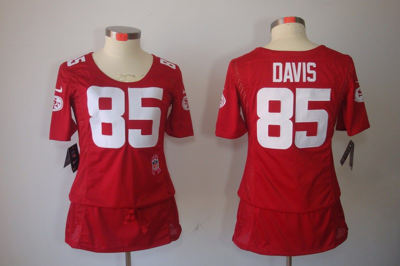 Womens San Francisco 49ers 85 Davis Nike Elite breast Cancer Awareness red Jersey