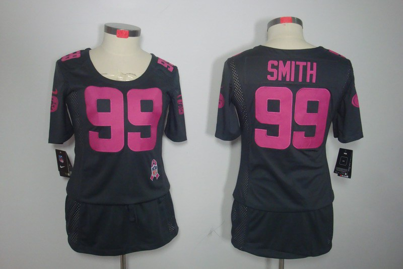 Womens San Francisco 49ers 99 Smith Nike Elite breast Cancer Awareness Dark grey Jersey