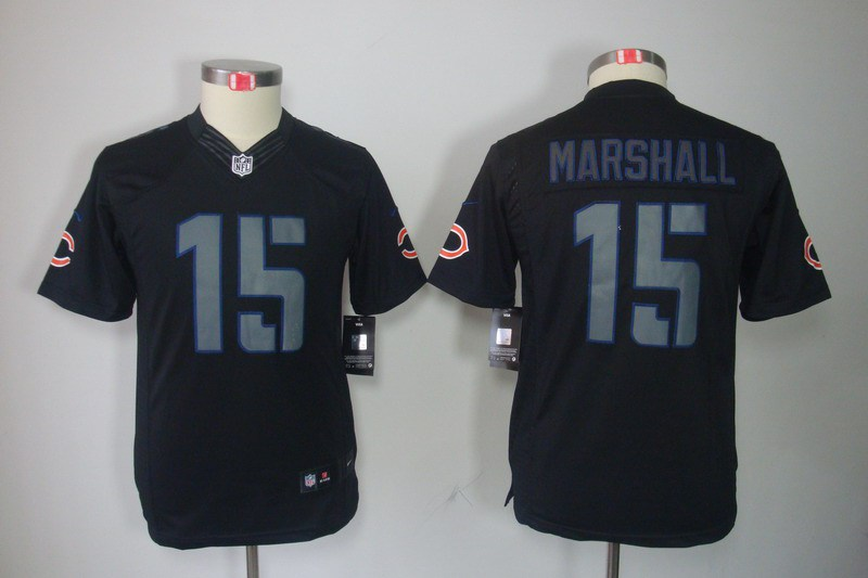 Chicago Bears 15 Marshall Nike Youth Impact Limited Black Jersey