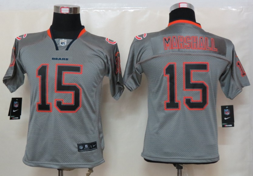 Chicago Bears 15 Marshall Nike Youth Lights Out Grey Elite Jerseys