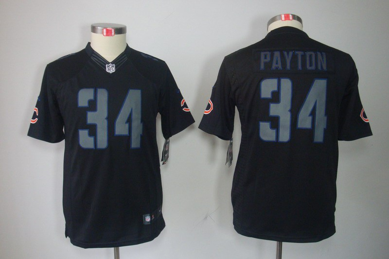 Chicago Bears 34 Payton Nike Youth Impact Limited Black Jersey