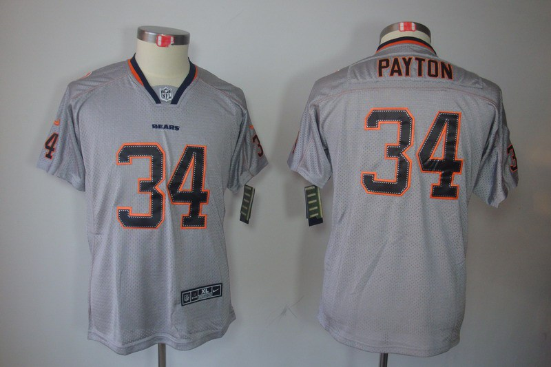 Chicago Bears 34 Payton Nike Youth Lights Out Grey1 Elite Jerseys