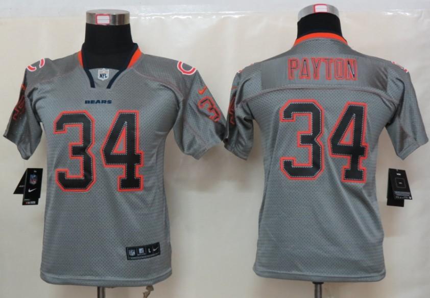 Chicago Bears 34 Payton Nike Youth Lights Out Grey Elite Jerseys