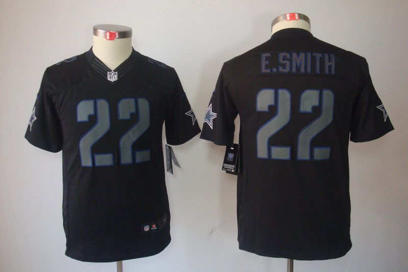 Dallas cowboys 22 E.smith Nike Youth Impact Limited Black Jersey