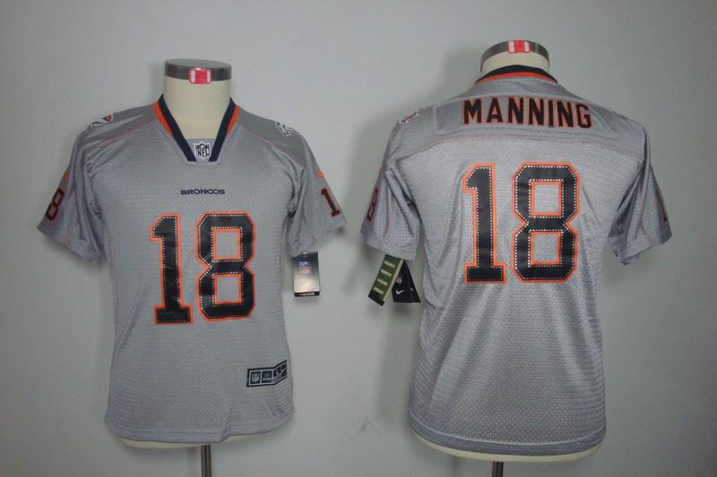 Denver Broncos 18 Manning Nike Youth Lights Out Grey Elite Jerseys