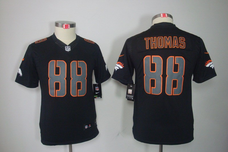 Denver Broncos 88 Thomas Nike Youth Impact Limited Black Jersey