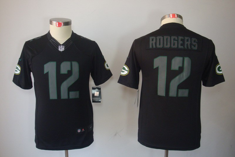 Green Bay Packers 12 Rodgers Nike Youth Impact Limited Black Jersey