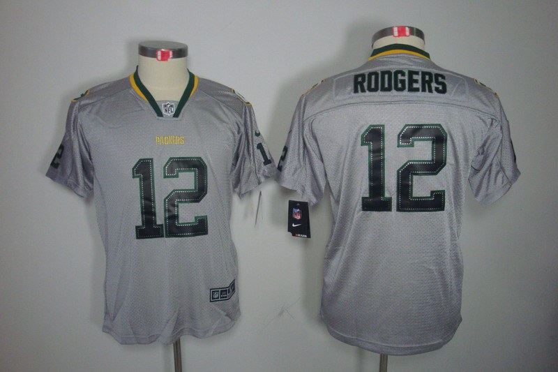 Green Bay Packers 12 Rodgers Nike Youth Lights Out Grey Elite Jerseys