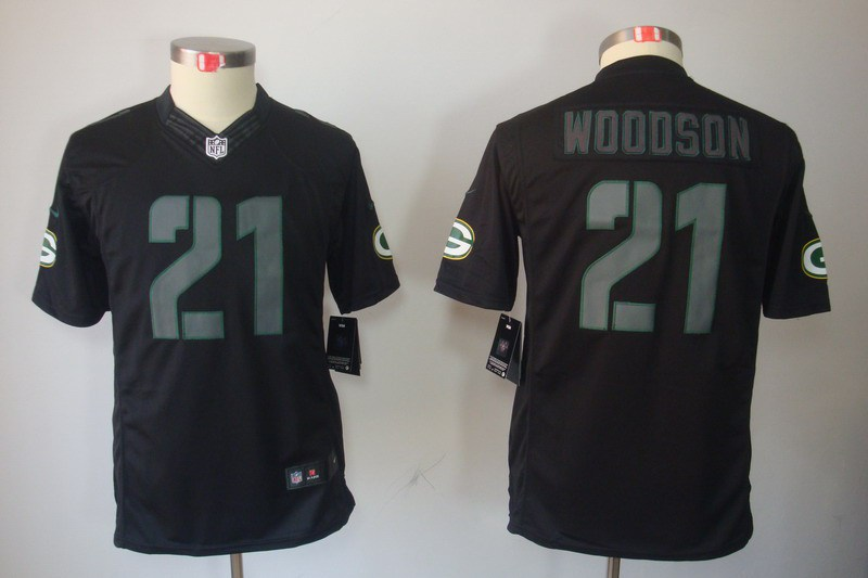 Green Bay Packers 21 Woodson Nike Youth Impact Limited Black Jersey