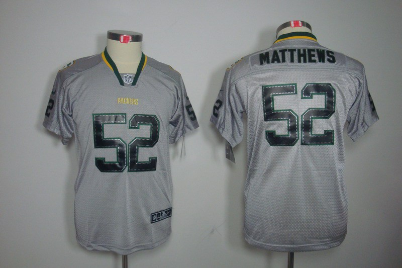 Green Bay Packers 52 Matthews Nike Youth Lights Out Grey Elite Jerseys