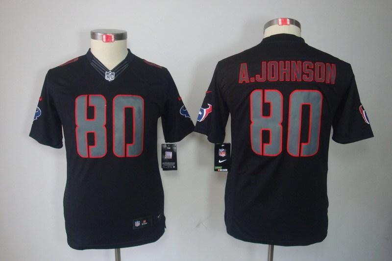 Houston Texans 80 Johnson Nike Youth Impact Limited Black Jersey