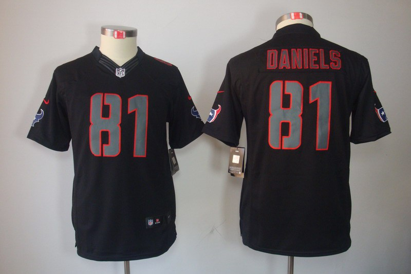 Houston Texans 81 Daniels Nike Youth Impact Limited Black Jersey