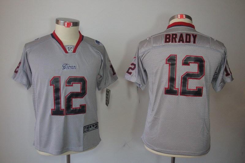 New England Patriots 12 Brady Nike Youth Lights Out Grey Elite Jerseys
