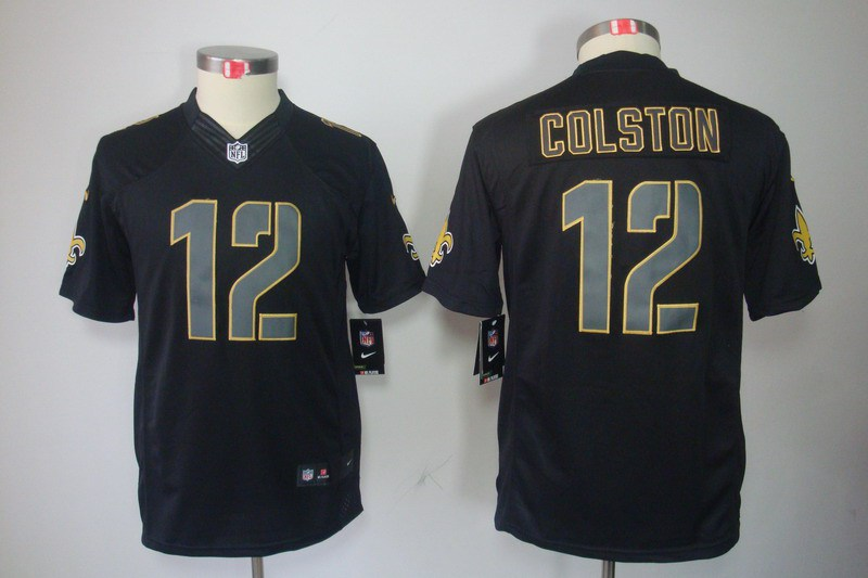 New Orleans Saints 12 Colston Nike Youth Impact Limited Black Jersey
