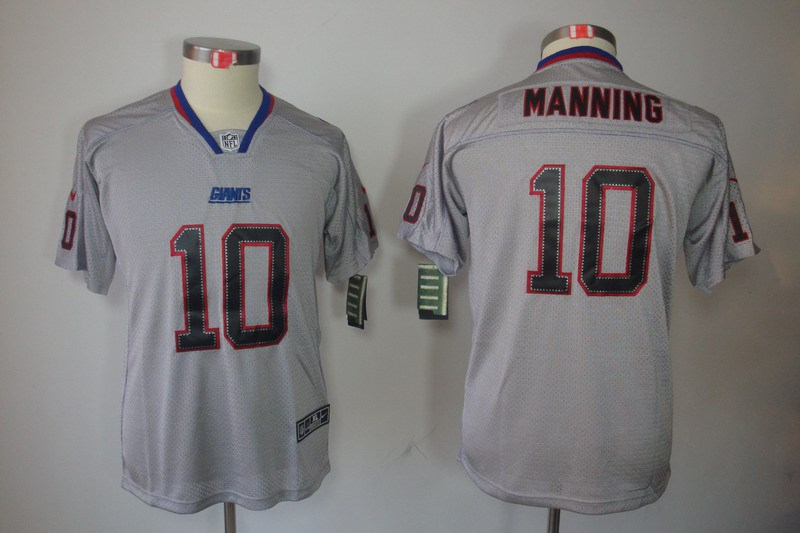 New York Giants 10 Manning Nike Youth Lights Out Grey Elite Jerseys