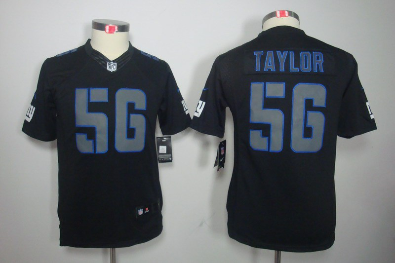 New York Giants 56 Taylor Nike Youth Impact Limited Black Jersey