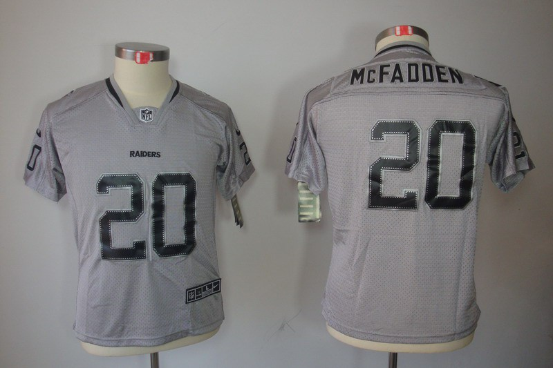 Okaland Raiders 20 Mcfadden Nike Youth Lights Out Grey Elite Jerseys