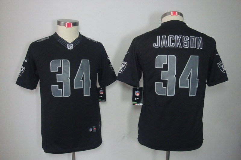 Okaland Raiders 34 Jackson Nike Youth Impact Limited Black Jersey