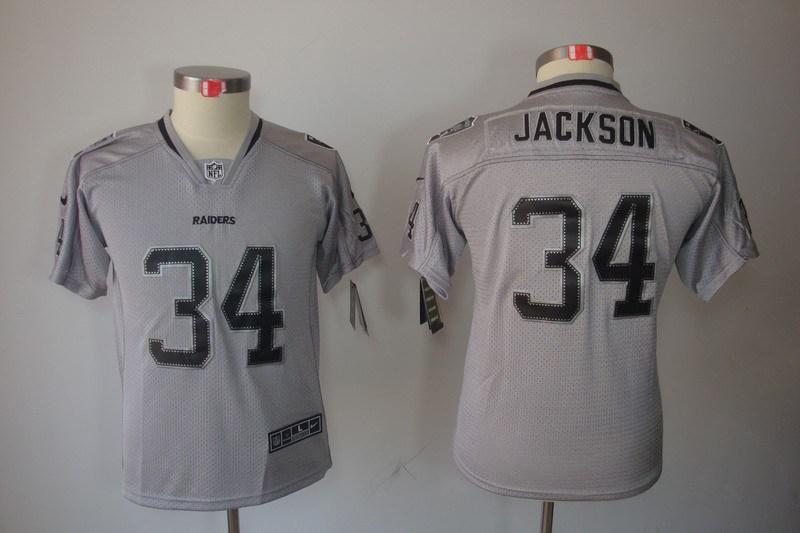 Okaland Raiders 34 Jackson Nike Youth Lights Out Grey Elite Jerseys