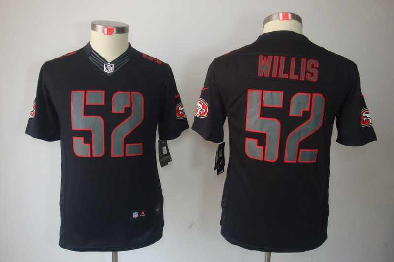 San Francisco 49ers 52 Willis Nike Youth Impact Limited Black Jersey