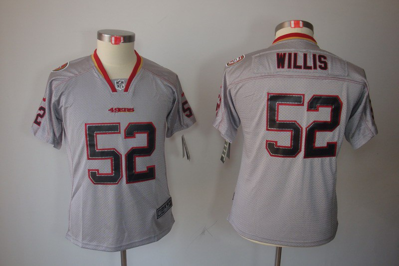 San Francisco 49ers 52 Willis Nike Youth Lights Out Grey Elite Jerseys