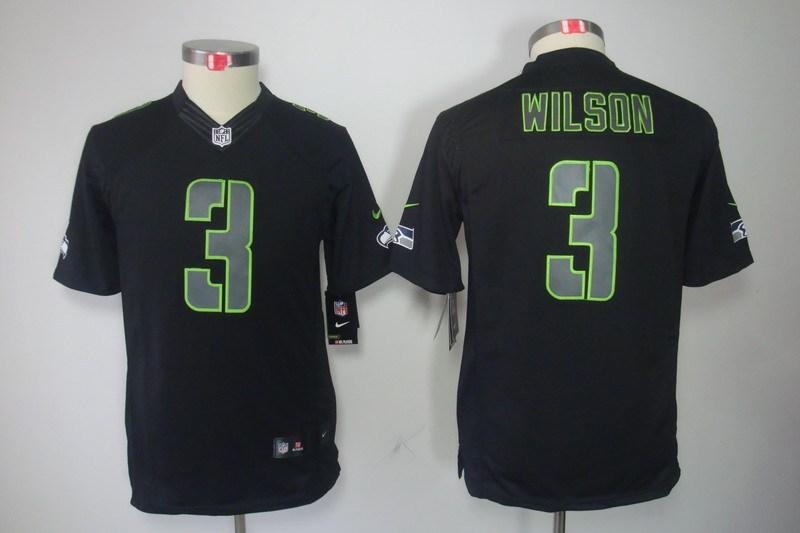 Seattle Seahawks 3 Wilson Nike Youth Impact Limited Black Jersey