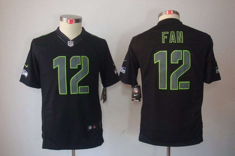 Seattle Seahawks 12 Fan Nike Youth Impact Limited Black Jersey