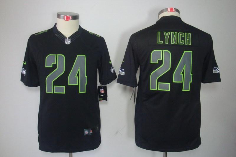 Seattle Seahawks 24 Lynch Nike Youth Impact Limited Black Jersey