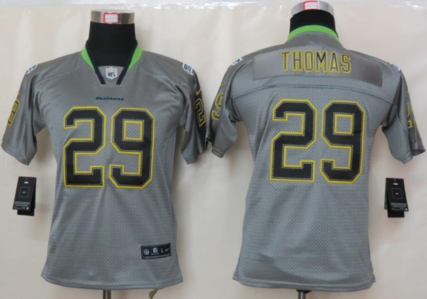 Seattle Seahawks 29 Thomas Nike Youth Lights Out Grey Elite Jerseys