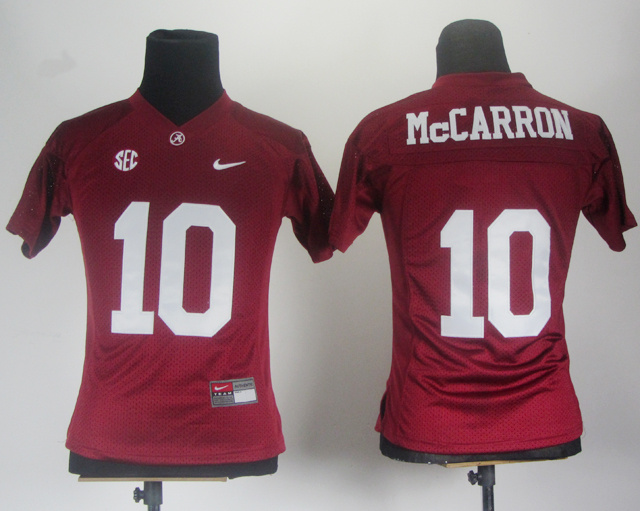 NCAA Women Nike Alabama Crimson Tide 10 AJ McCarron Crimson SEC Patch College Football Jersey