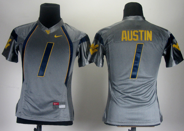 NCAA Women Nike West Virginia Mountaineers 1 Tavon Austin Grey College Football Jersey