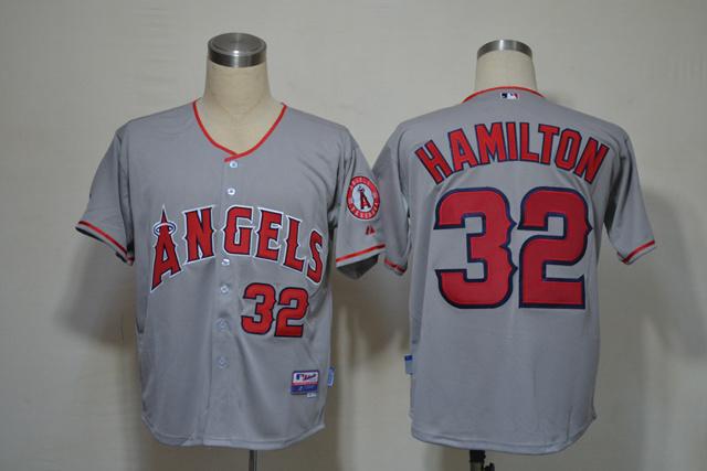 MLB Los Angeles Angels 32 Hamilton grey jerseys