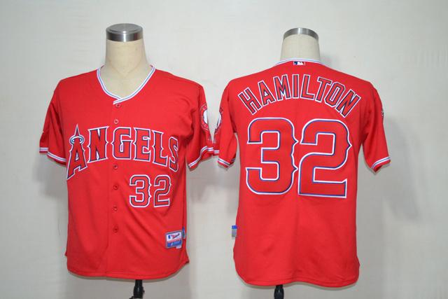 MLB Los Angeles Angels 32 Hamilton red jerseys