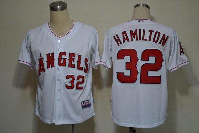 MLB Los Angeles Angels 32 Hamilton white jerseys