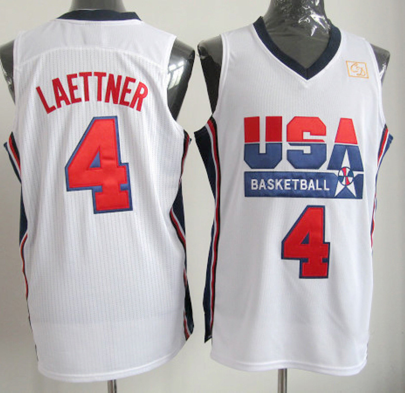 NBA 4 Christian Laettner 1992 USA Olympic Dream Team white jersey