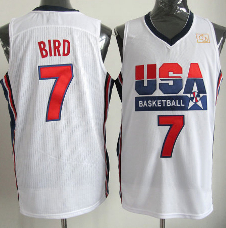 NBA 7 Larry Bird 1992 USA Olympic Dream Team white jersey