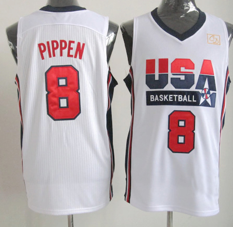NBA 8 Scottie Pippen 1992 USA Basketball Dream Team throwback retro white jersey