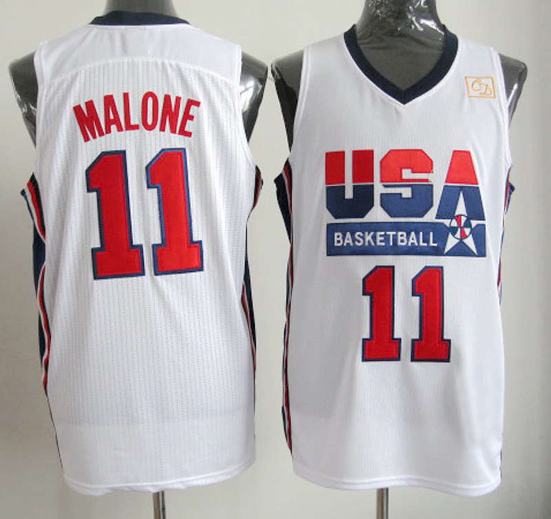 NBA 11 Karl Malone 1992 USA Olympic Dream Team white jersey