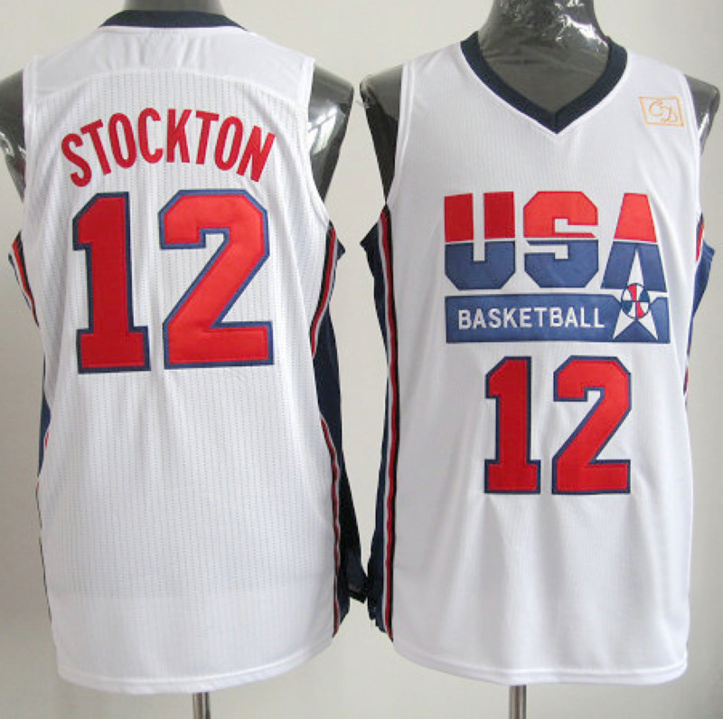 NBA 12 John Stockton 1992 USA Olympic Dream Team white jersey