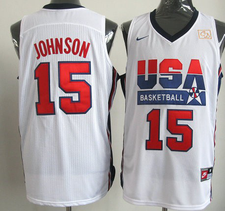 NBA 15 Magic Johnson USA Olympic Dream Team white jersey