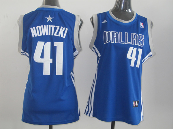 NBA Womens Dallas Mavericks 41 Dirk Nowitzki blue jersey
