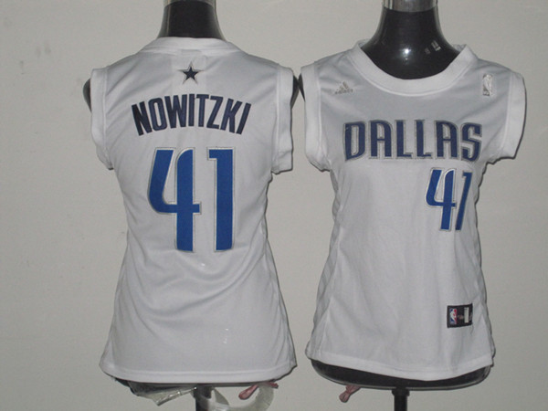 NBA Womens Dallas Mavericks 41 Dirk Nowitzki white jersey