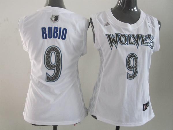 NBA Womens Minnesota Timberwolves 9 Ricky Rubio white jersey