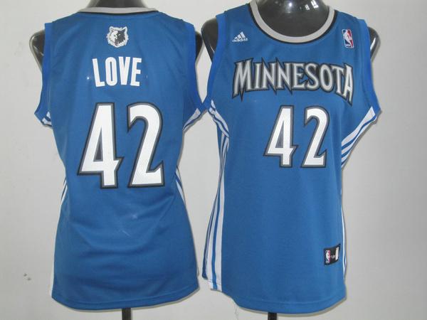 NBA Womens Minnesota Timberwolves 42 Kevin Love blue jersey