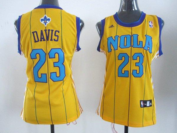 NBA Womens New Orleans Hornets 23 Anthony Davis yellow pinstripe jersey