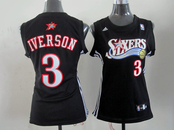 NBA Womens Philadelphia 76ers 3 Allen Iverson black jersey