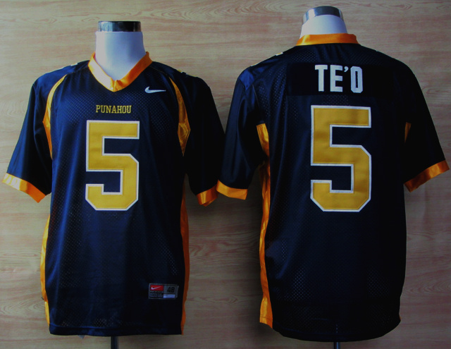 NCAA Nike Punahou High School Honolulu Manti Te'O 5 Blue Football Jerseys